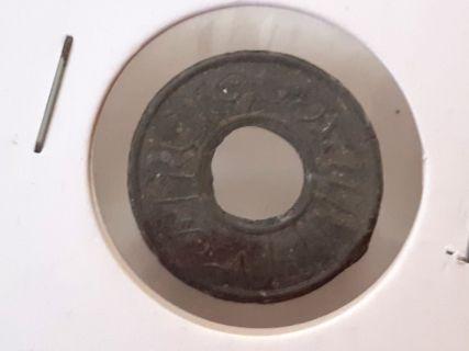 Palembang Tin Pitis Coin 18mm Sea Found Used