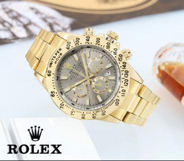 Jam Tangan Pria Rolex  Kualitas : Super  Display : analog, chrono off, tgl on  Diameter : -+4,5cm Tali : rantai
