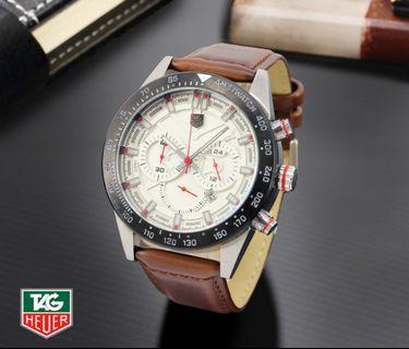 Brand : Tag Heuer  Kualitas : Super  Display : analog, chrono on, tgl on  Diameter : -+4,5cm Tali : kulit