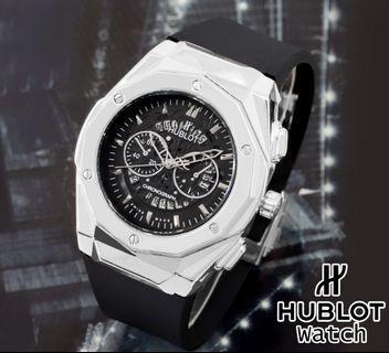 Brand : Hublot  Kualitas : Super  Display : analog, chrono off, tgl on  Diameter : -+4,5cm Tali : rubber