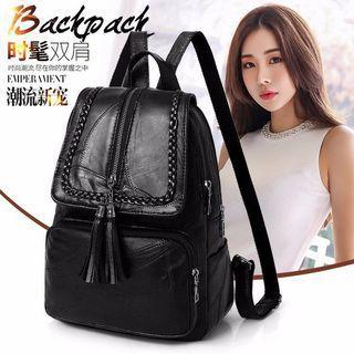 PU Leather Backpack Black Color