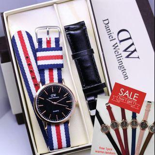 Brand : Dw Paket  Kualitas : semi super  Display : analog  Diameter : -+4cm Tali : kanvas  Free tali kulit  Free 1pcs jam fashion