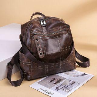 Retro PU Leather Casual Backpack 2 Colors