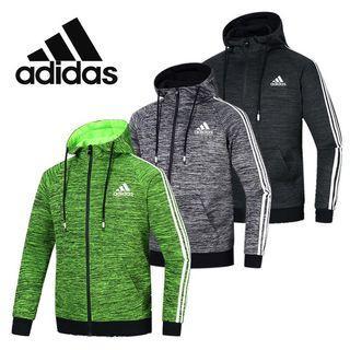 全新現貨Adidas休閒運動連帽外套三線拉鏈外套愛迪達外套
