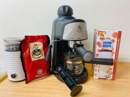 鍋寶義式咖啡機+磨豆機+保溫杯+咖啡粉