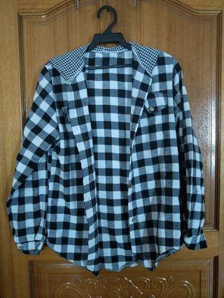 黑白格子上衣襯衫外套#五折清衣櫃