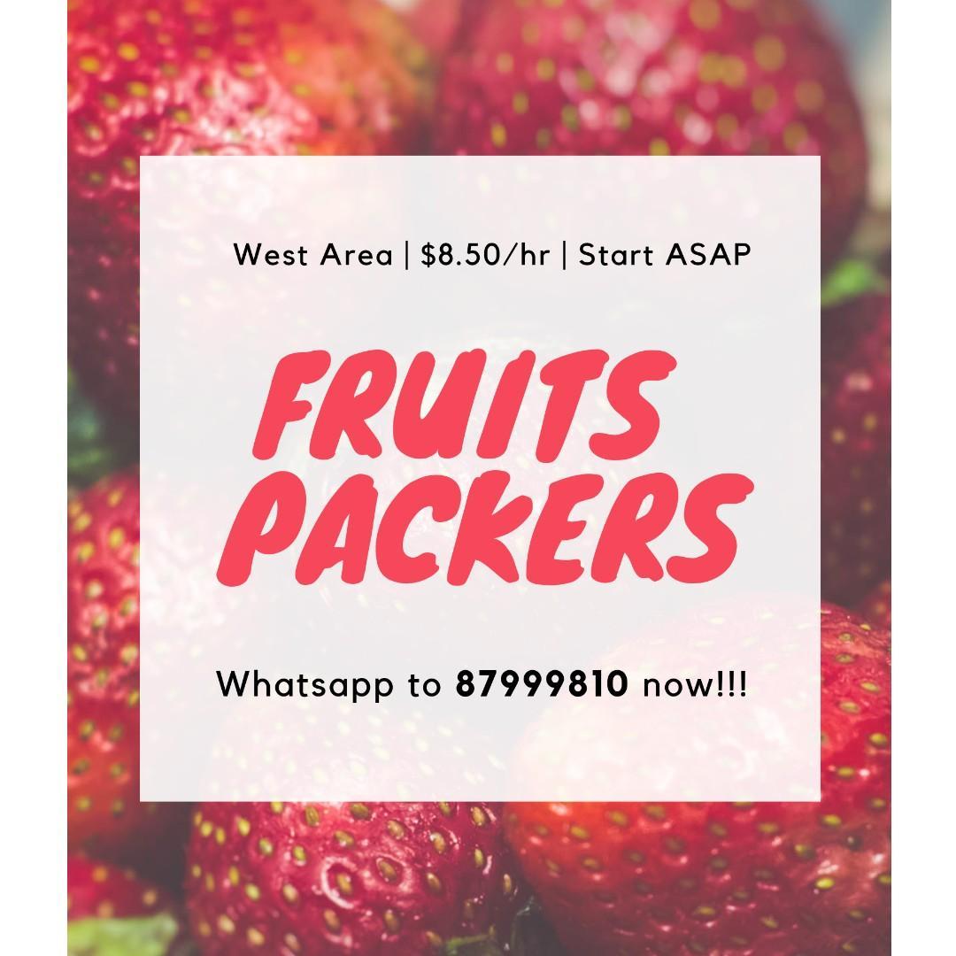 20 x Fruits Packers @ West ($8.50/hr, Start ASAP!)