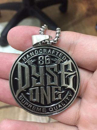 嘻哈86圓盤銀項鍊