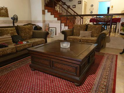 Italian Leather Top Coffee Table from Felione