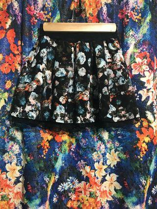 復古 古著 油畫花卉 風格 蕾絲短裙