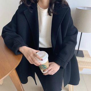 正韓 韓製 2019秋冬新款 側開叉西裝領手工羊毛大衣