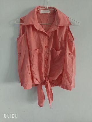 ✨銅板價出清✨清涼挖肩綁帶襯衫 #五折清衣櫃