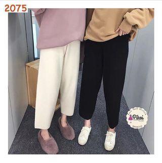 Knit culotte / celana panjang rajut impor / kulot hitam import rajut / 2075