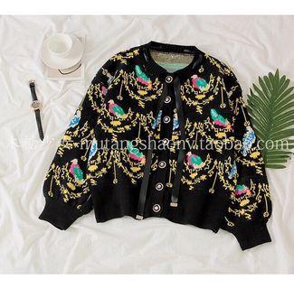 黑色鮮豔鳥緞帶蝴蝶結毛衣外套 #五折清衣櫃