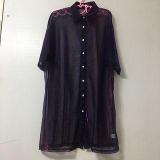 復古透明紫色科技感 襯衫 五折出清