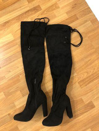 Brand new Lulus black thigh high over the knee heeled boots (size 6)
