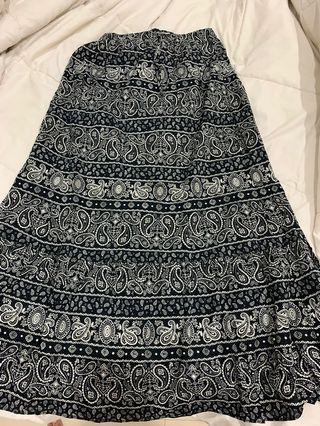 Uniqlo Navy Ethnic Skirt