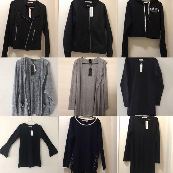 9 brand new and new jackets, jumpers, hoodie, cardigans for $50!