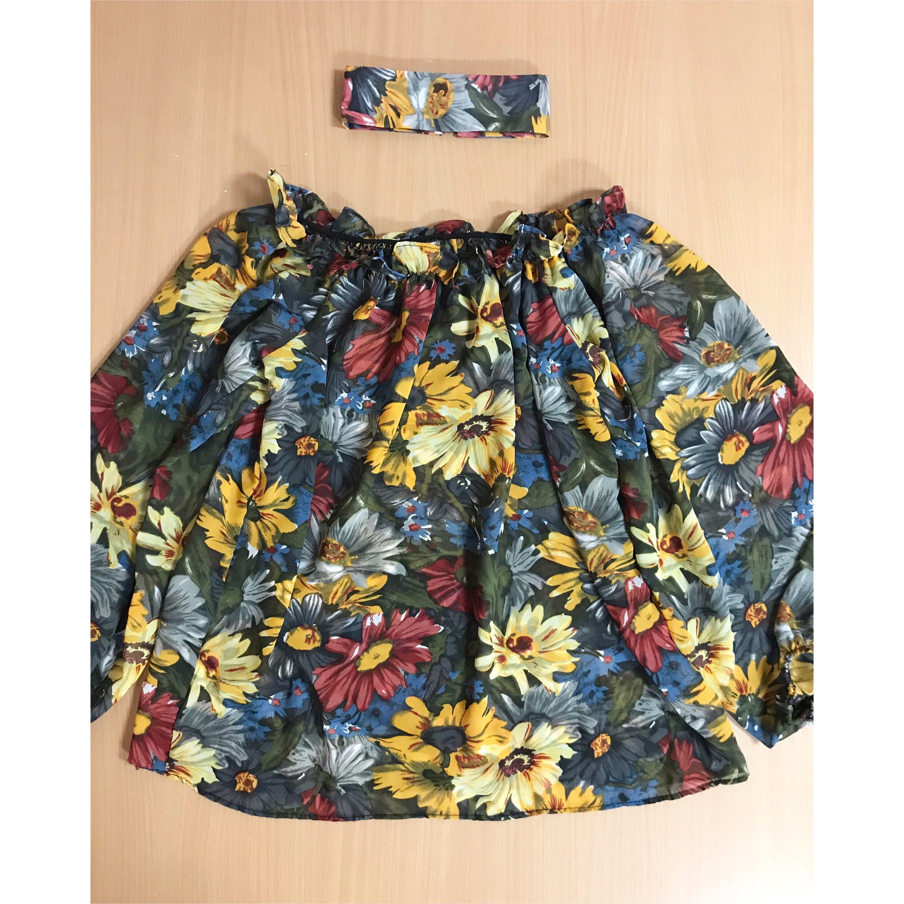 韓國宮庭復古高貴風花花圖案一字肩/一字領顯瘦寬鬆上衣+衣領頸圈套裝