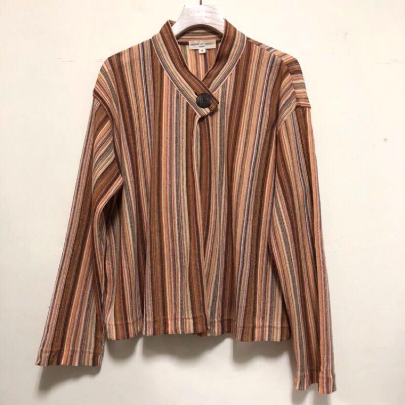 秋日隨性簡約直條紋針織罩衫古著外套
