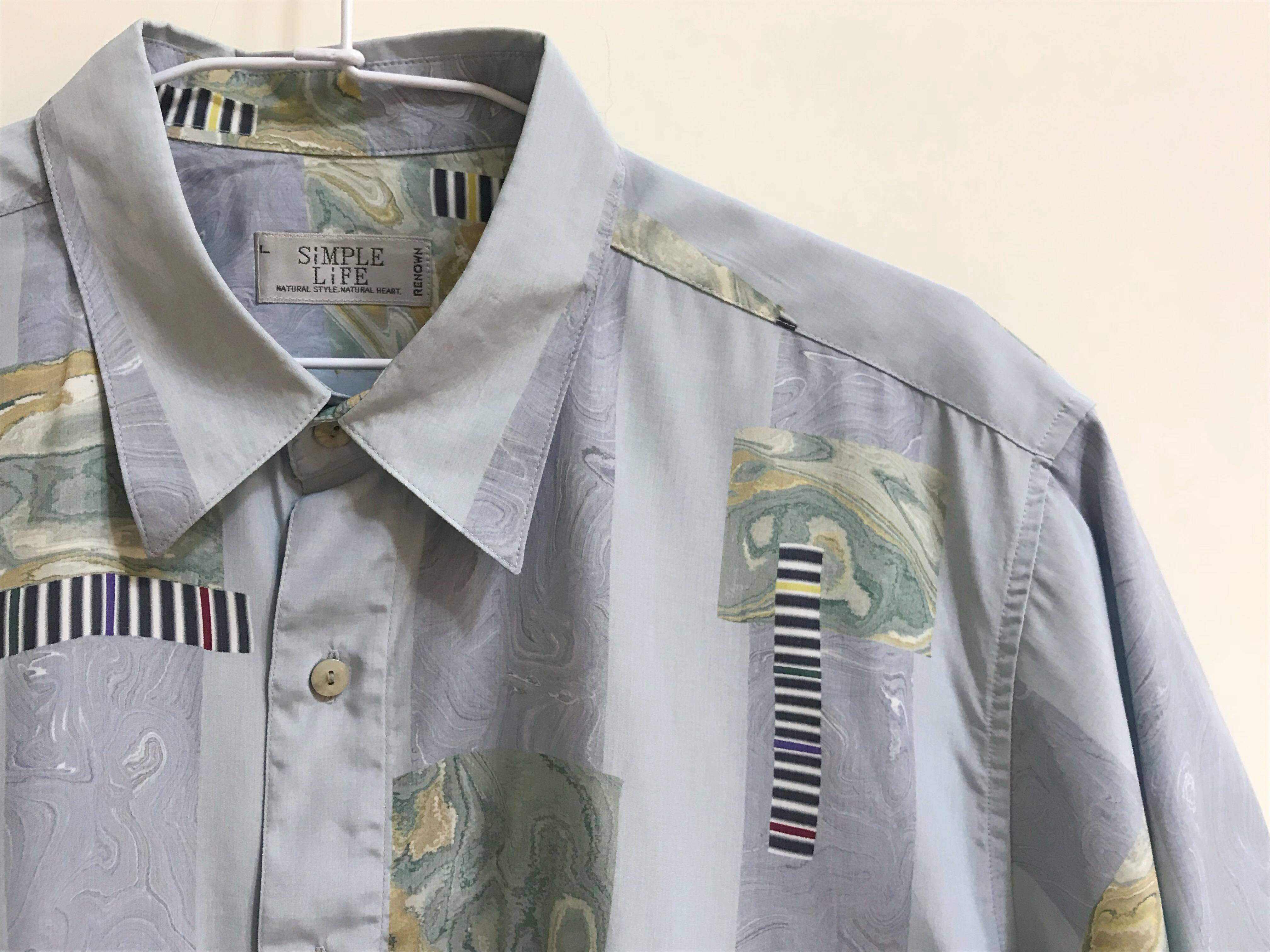 低飽和淺藍幻境古著短袖襯衫