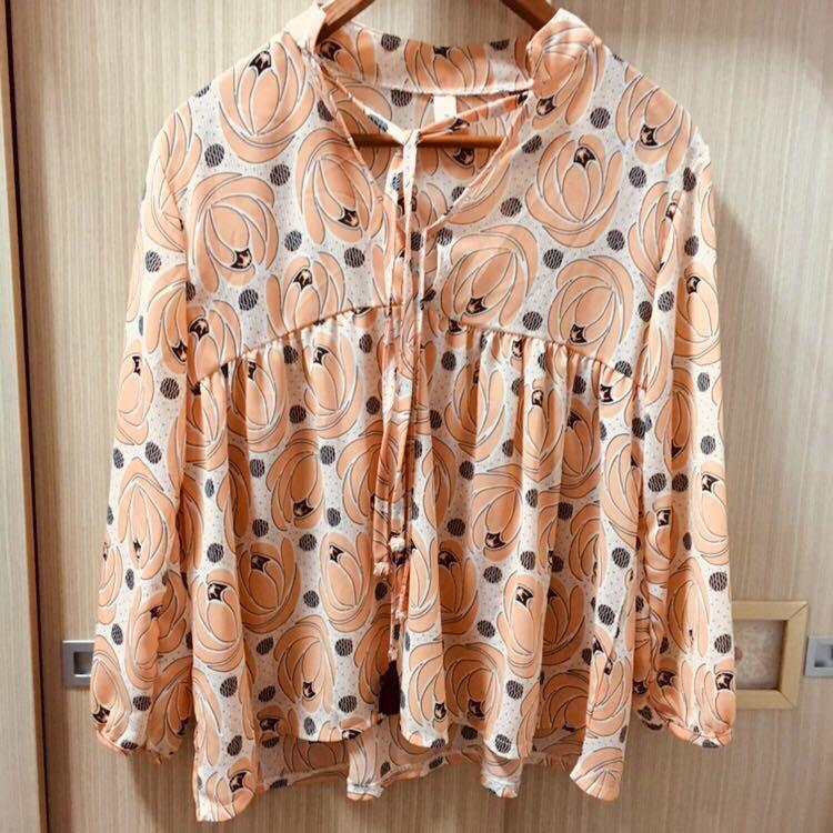 甜美杏橘雪紡上衣
