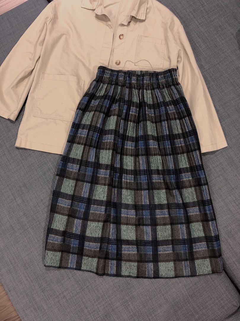 綠色格紋長裙
