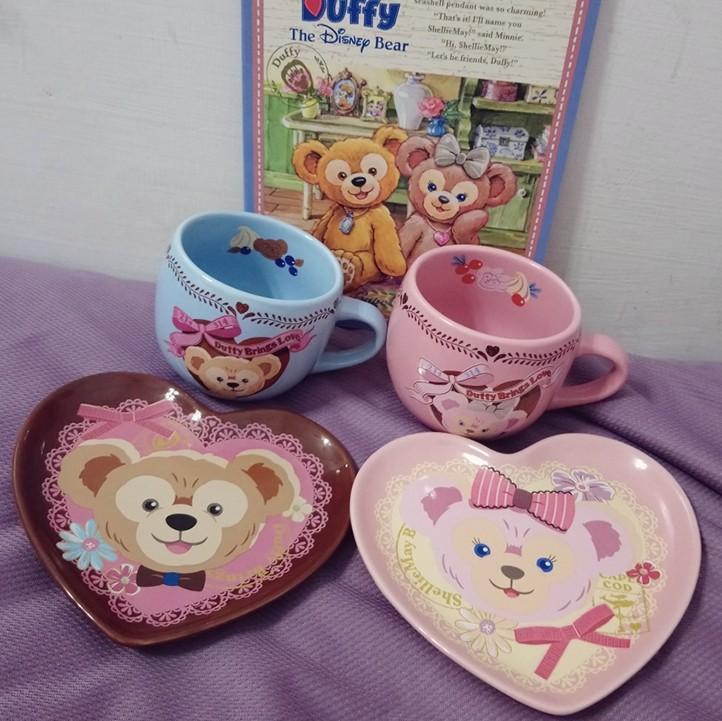 東京迪士尼 絕版 情人節 達菲 雪莉玫 點心盤 杯子 盤子