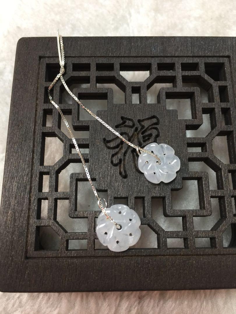 天然翡翠緬甸玉a貨冰種小花銀耳線一對、花開富貴