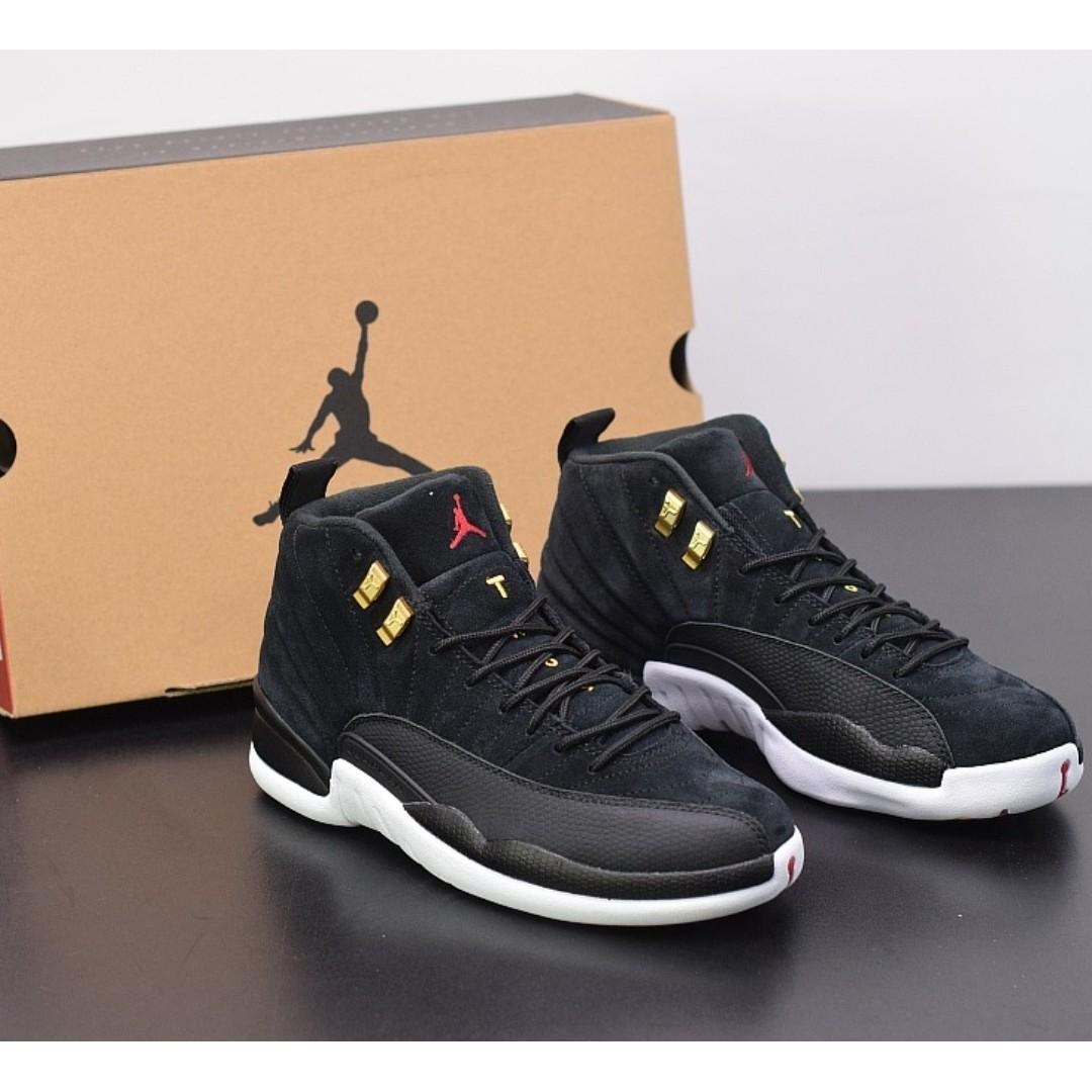 "Air Jordan 12""Reverse Taxi""黑白金 頂級版本 原裝材料真碳 貨號:130690-017 號碼40-47.5出貨"
