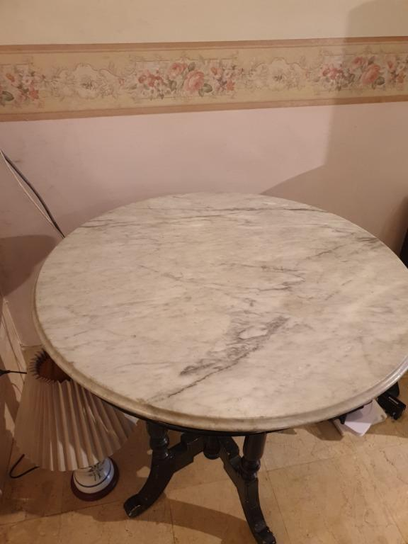 Antique Round Marble Top Table