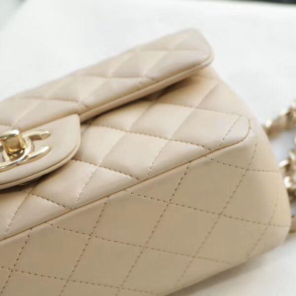 Authentic Pre-loved Chanel Mini Rectangular Beige Lambskin GHW