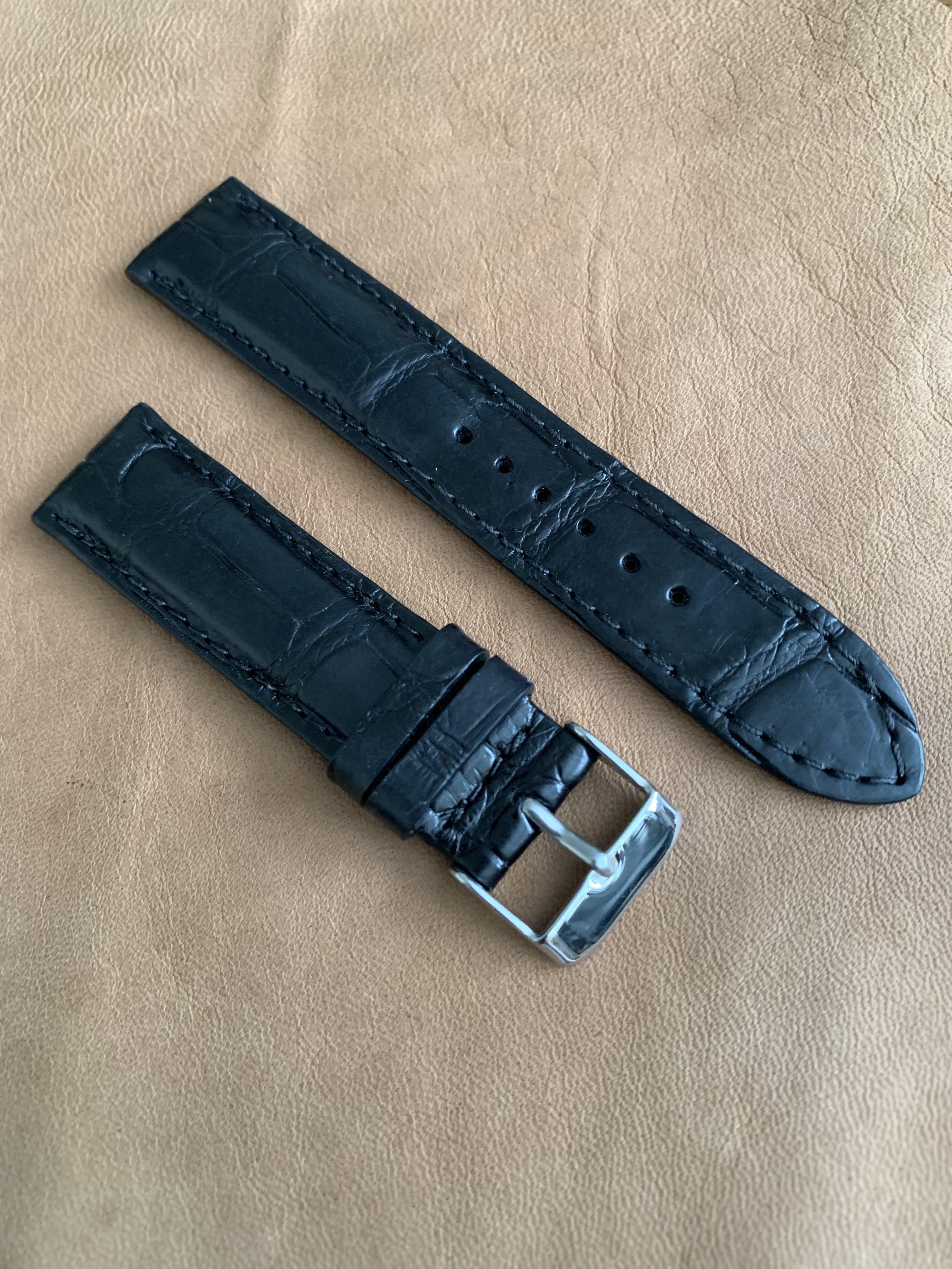 Black Crocodile Alligator Watch Strap (smooth croc belly) 20mm@lug/18mm@buckle #MRTHougang #MRTSerangoon #MRTSengkang #MRTPunggol #MRTRaffles #MRTBedok #MRTTampines #MRTCCK #MRTJurongEast #MRTYishun