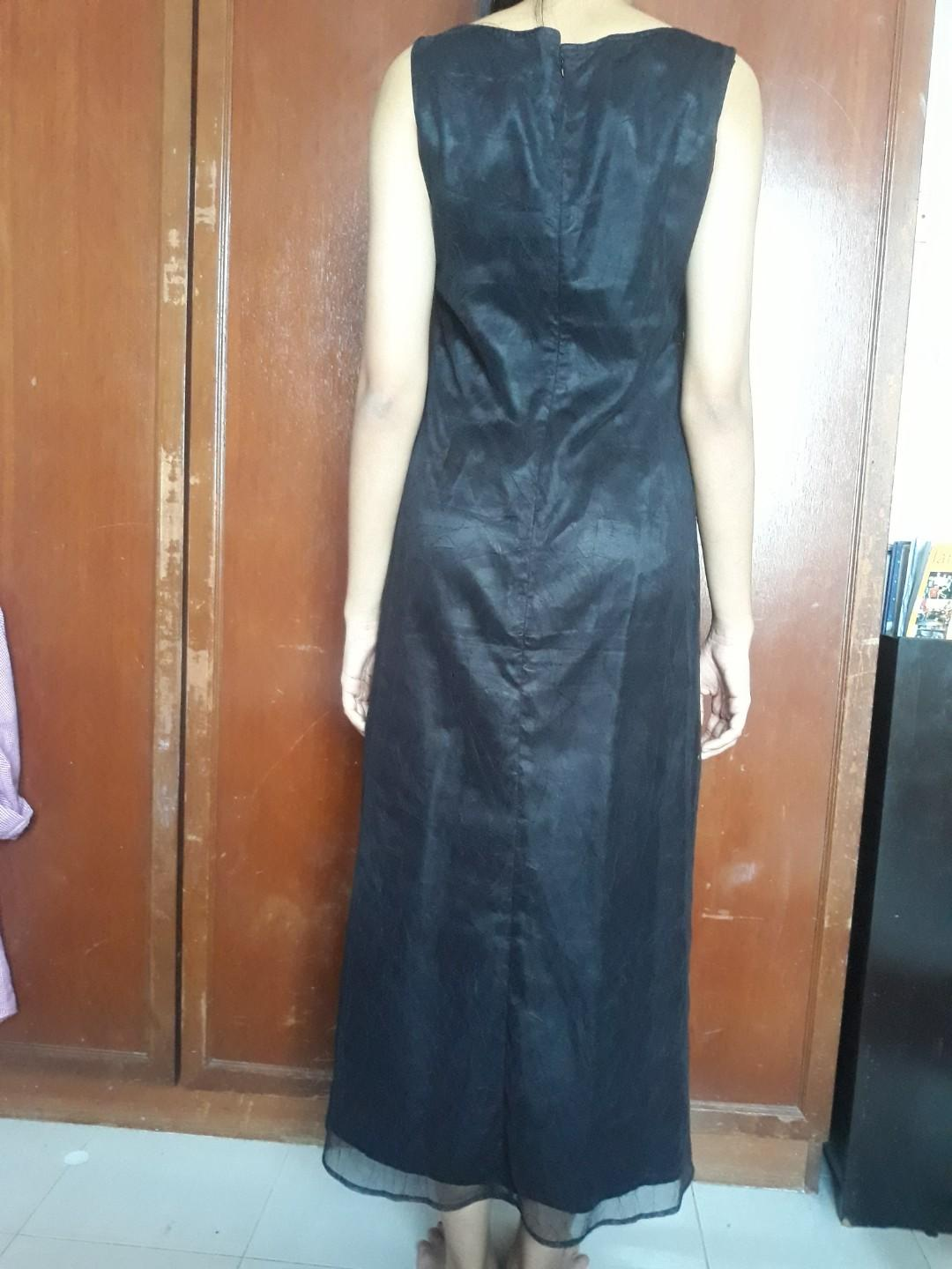 Black Long Chiffon + Silk Dress / Halloween Dress