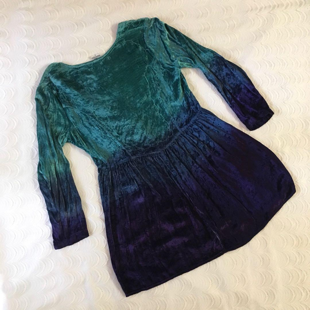 Blue-Purple Ombré Velvet Embroidered Dress / Duster