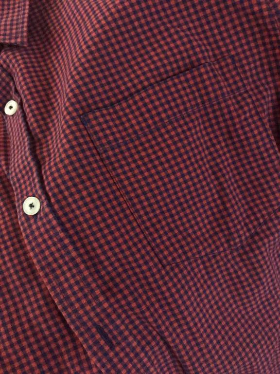 BO's Long Sleeve Shirt (Red with Navy Blue Pattern)