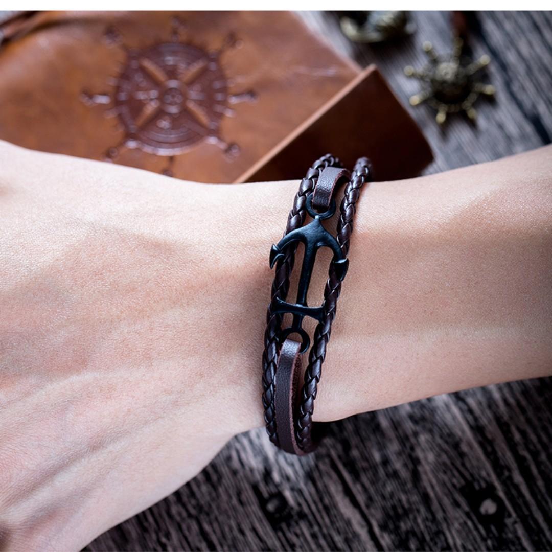 Bracelet - Silver Simple Anchor Triple Brown Leather Tour
