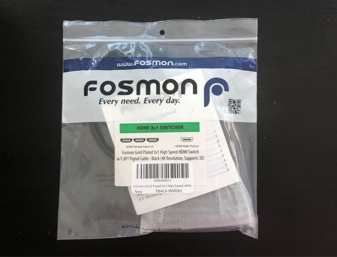 Brand New Fosmon 1 to 3 HDMI switch TV HDMI adapter 4K