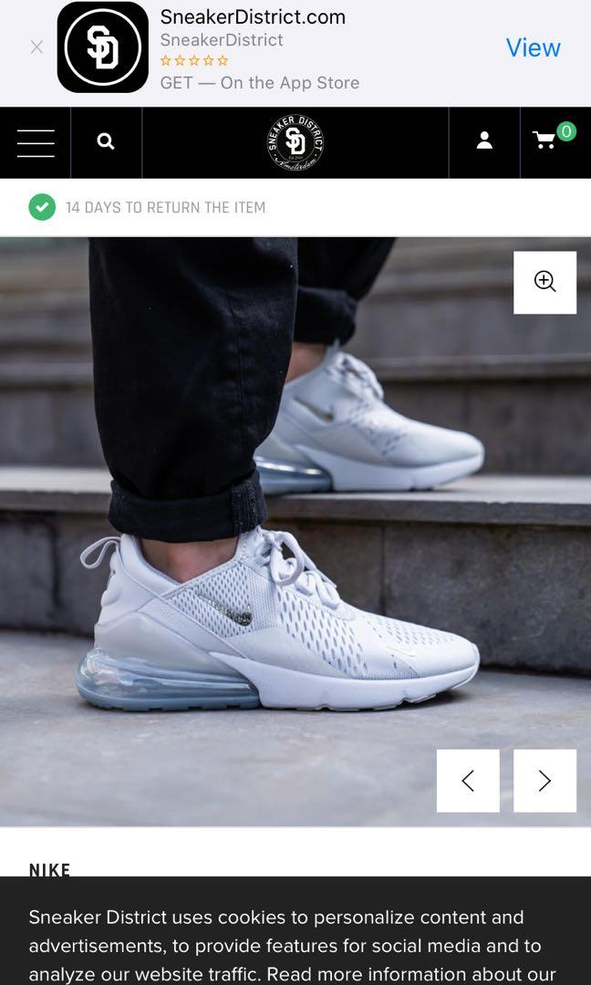 Brand new men's Nike airmax 270 silver chrome size 9 sneakers