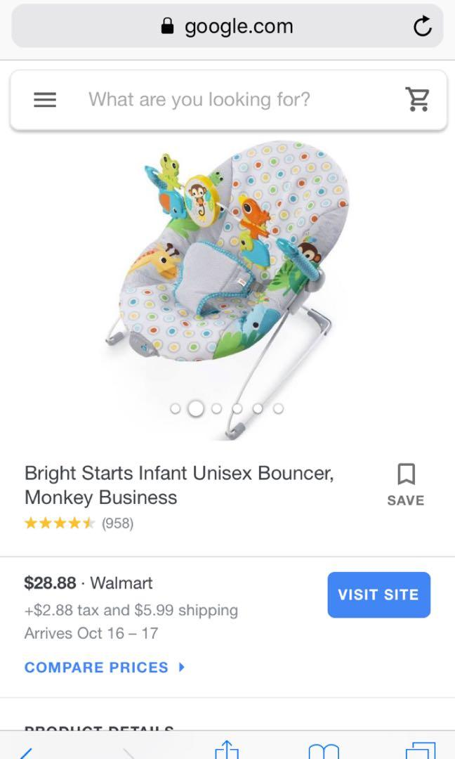 Bright start monkey business vibrating baby bouncer