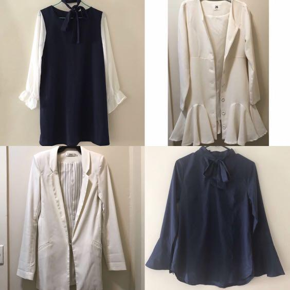 Chiffon dress and blouse + white blazer and skirt coat jacket