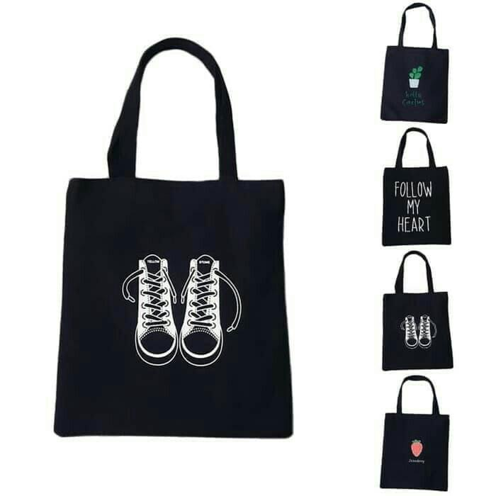 Creative Eco Printed Black Women Tote Bag