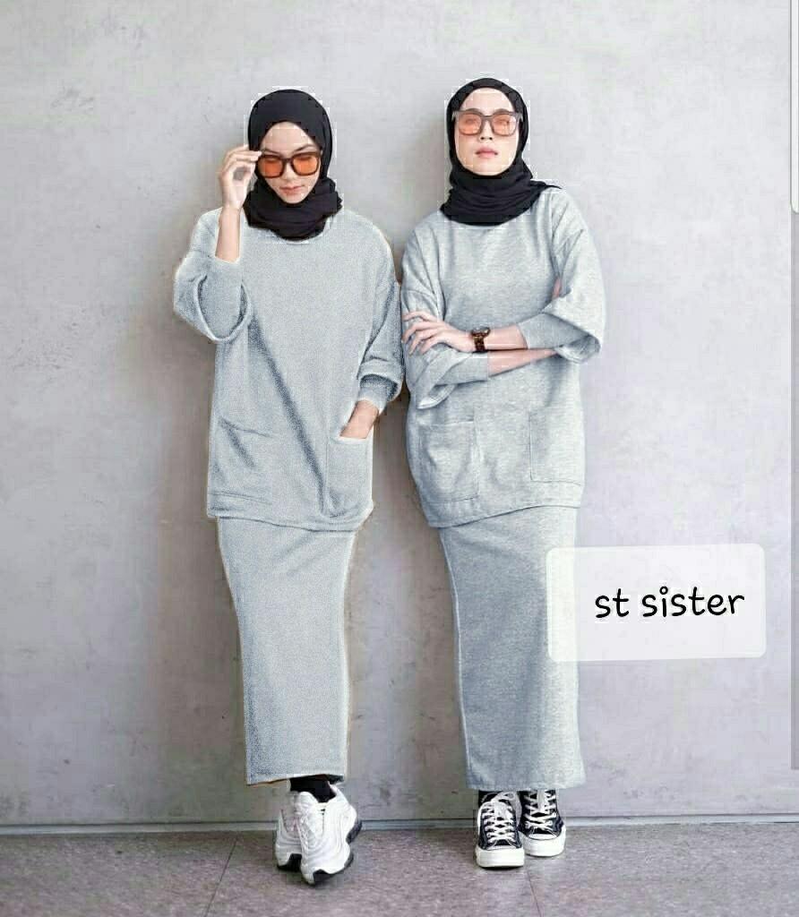 Ec St sister mustard l atasan fashion baju kaos rok panjang setelan wanita