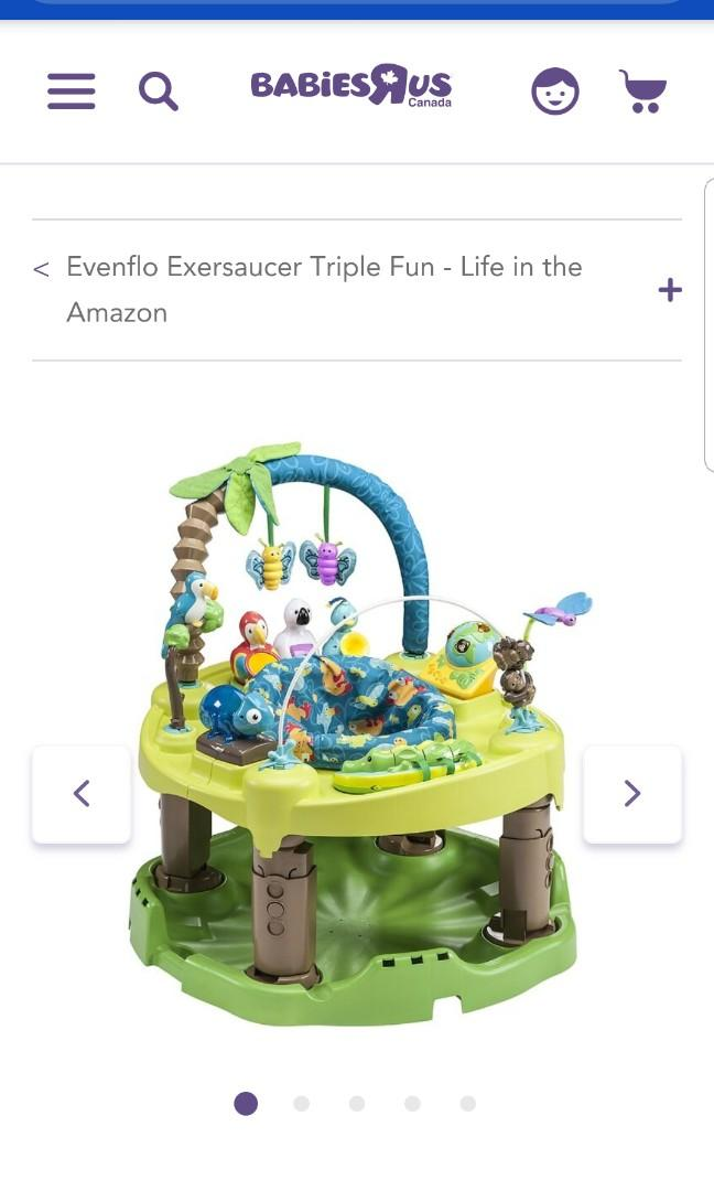 Evenflo exersaucer purchased NEW triple fun safari. Retails for $150. Selling for $50. Folds up for easy storage. 3 stages. This exersaucer truns into an activity table. Heres the review scroll down.   Pick up