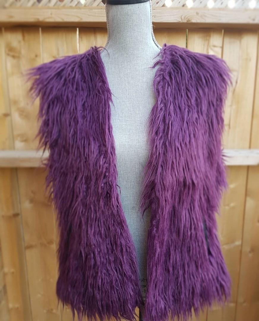 Faux Mongolian Fur purple vest