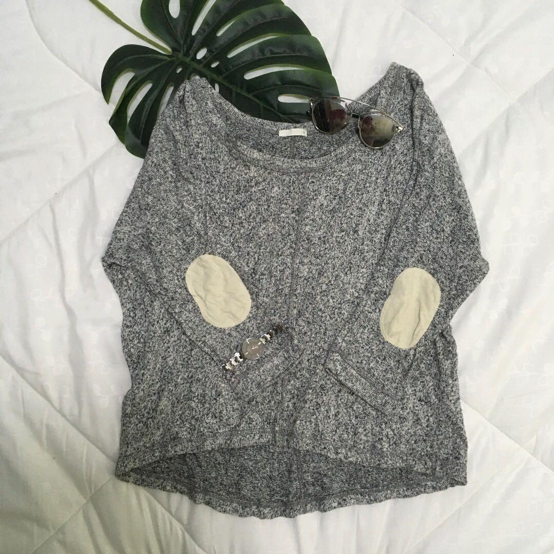 Grey Sweater with Elbow Pads
