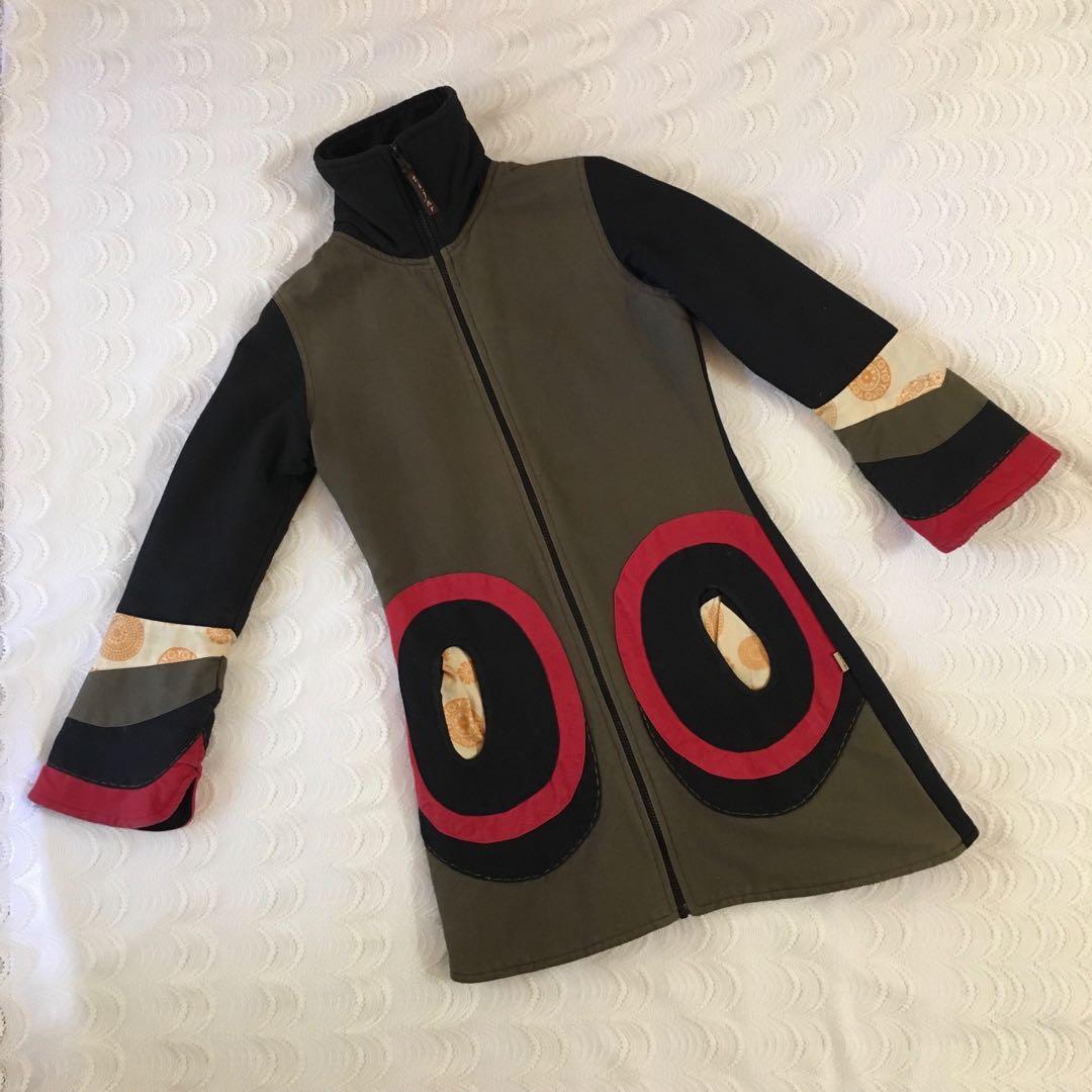 Heavy 'Tijar Fashion' Jacket / Coat Cotton Canvas & Fleece lining with Floral Oriental Detail