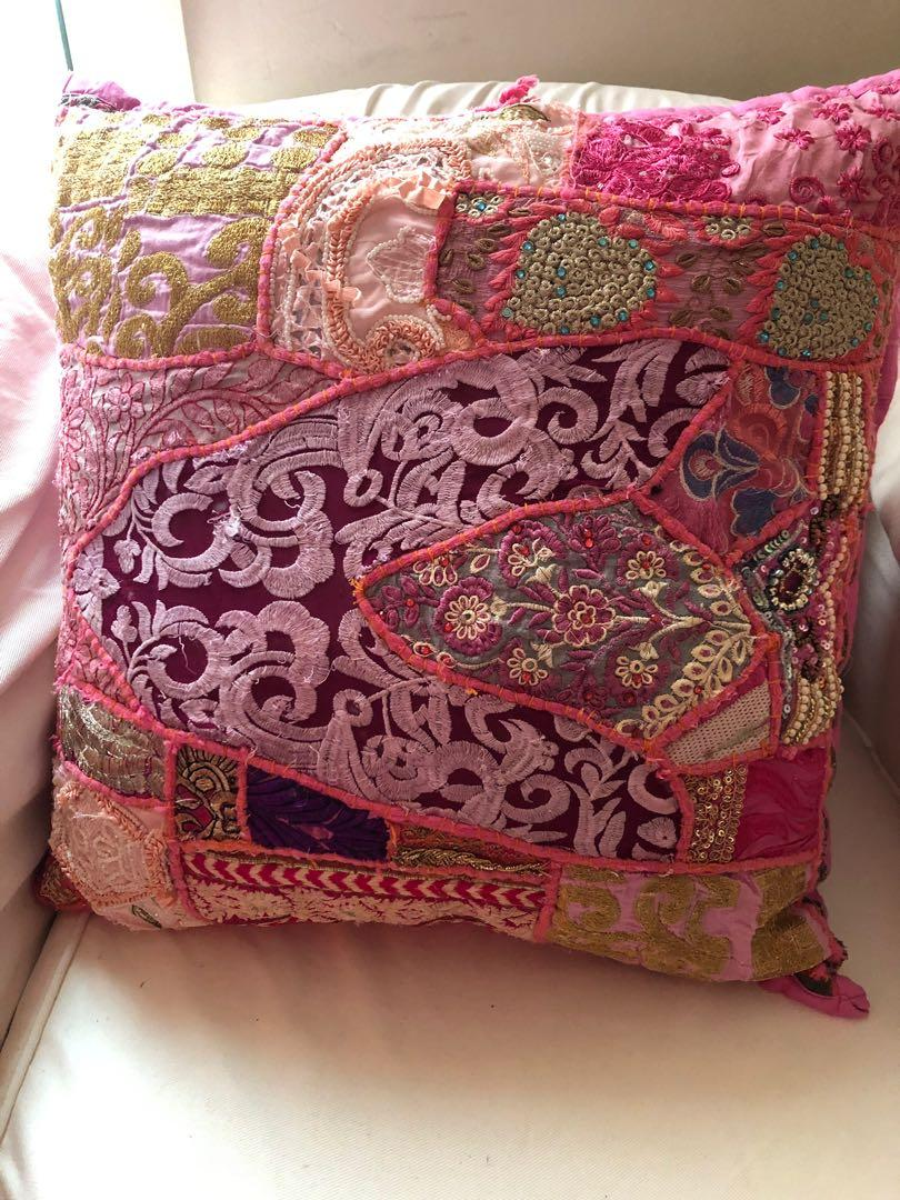 Ishka Pink embroidered cover Pillow