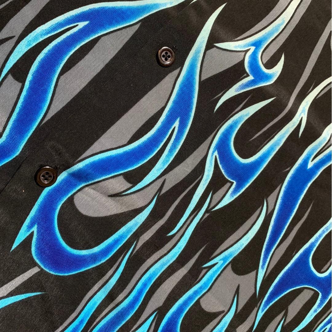 JCI:Vintage 古著 大尺碼 藍火焰印花短袖襯衫 朋克風格 / Vetements風格 / Y2K