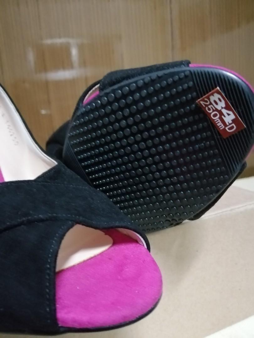 Korea黑絨布魚口高跟鞋